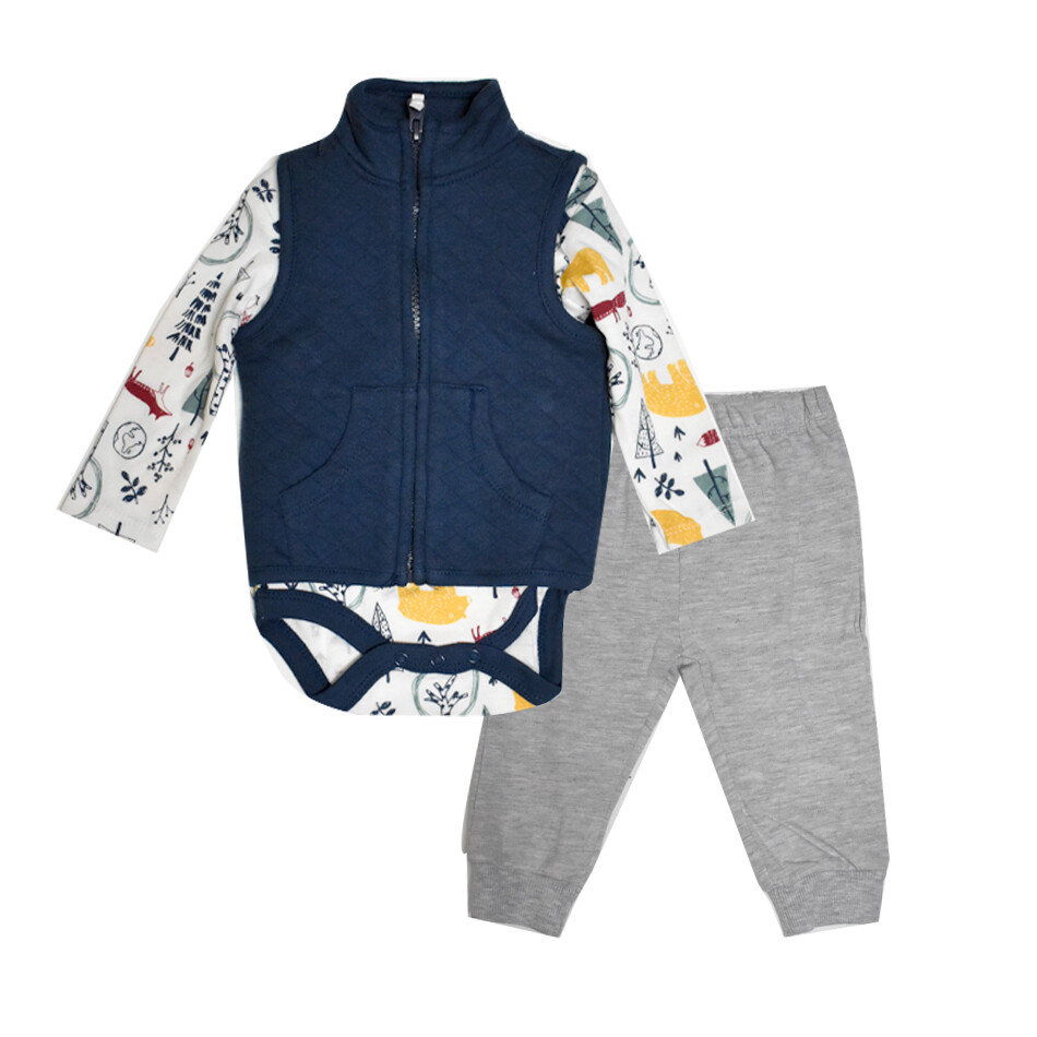 CONJUNTO CHICK PEA - pantalón gris y chaleco enguatado azul marino