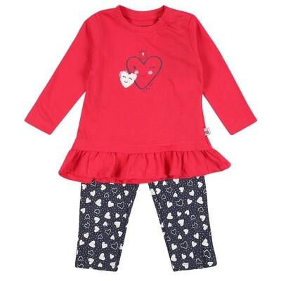 CONJUNTO BLUE SEVEN - blusa m/l con vuelitos y leggings estampados, HUGS & HEARTS