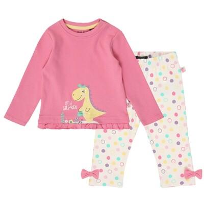 CONJUNTO BLUE SEVEN - Blusa rosada m/l con vuelitos y dinosaurio, leggings estampados con bolitas multi -CUTIESAURUS