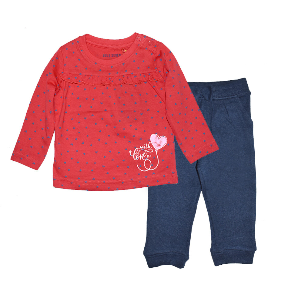 Conjunto Blue Seven Corazones Blusa Roja