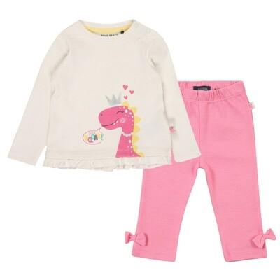 CONJUNTO BLUE SEVEN - Blusa crema m/l con vuelitos y dinosaurio, leggings  rosados lisos- CUTIESAURUS