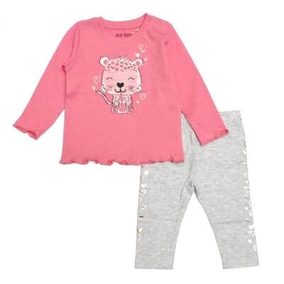 CONJUNTO BLUE SEVEN - Blusa rosada m/l y leggings estampados, REBEL ROAR