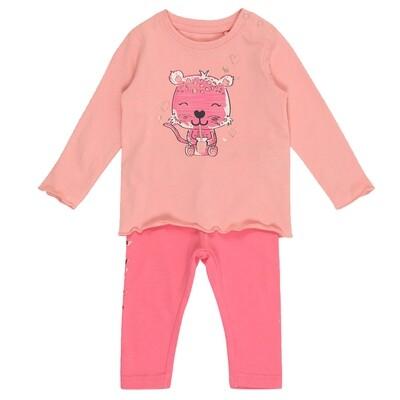 CONJUNTO BLUE SEVEN - Blusa rosada pálida m/l y leggings estampados, REBEL ROAR