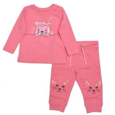 CONJUNTO BLUE SEVEN - Blusa m/l rosada estampado de leopardo Pantalón de pants salmón, leopardo en rodillas, REBEL ROAR