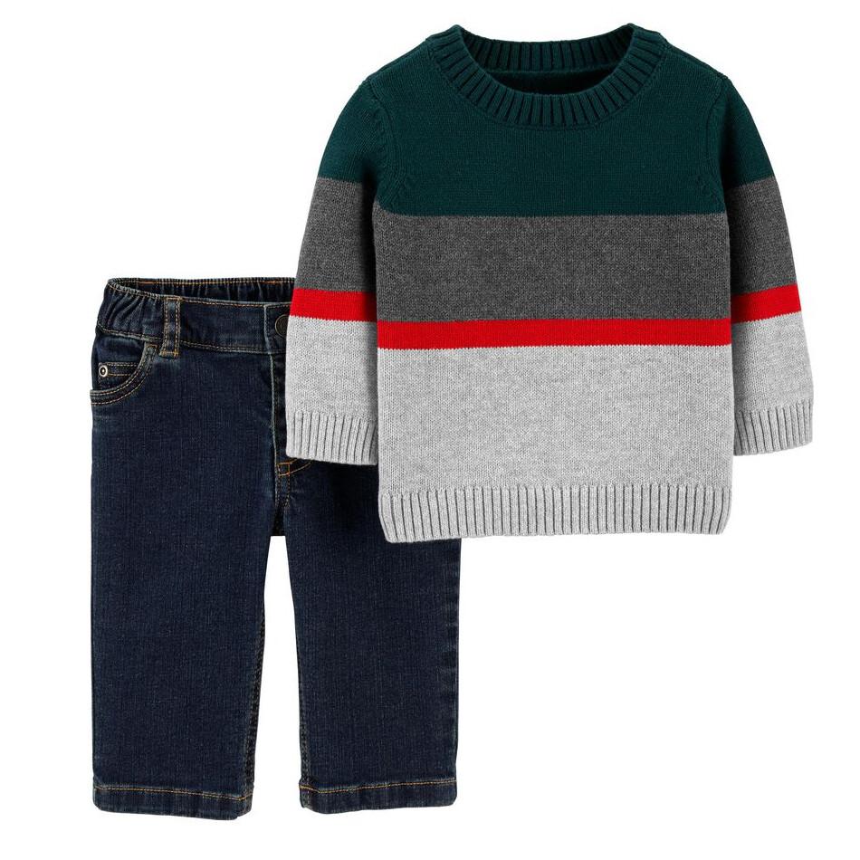 CONJUNTO CARTERS - Cj 2pz Sueter cerrado diseño de rayas y pantalon de lona