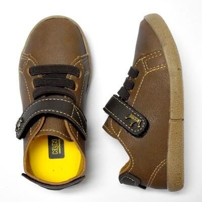KLIN - Zapato casual con cintas y cincho con velcro, café claro y cintas café obscuro, walkers