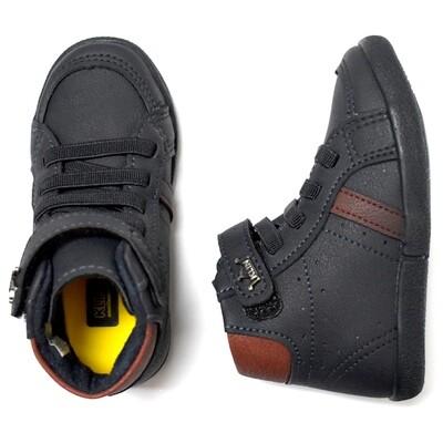 KLIN - Zapato casual tipo botín alto con cintas y cincho con velcrom azul marino, walkers