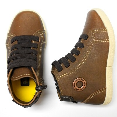 KLIN - Zapato casual tipo botín alto con cintas y zipper lateral, café, walkers