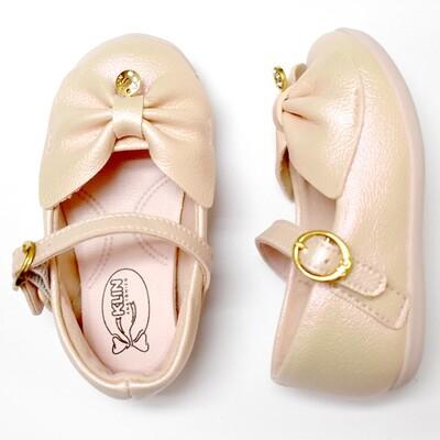 KLIN - Zapato de vestir con cincho y moñito al frente y moneda, rosado aperlado, Cravinho Princess, Early Walkers