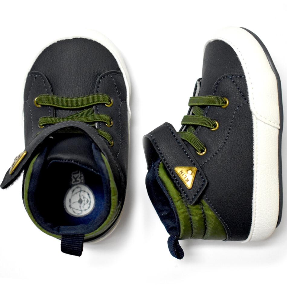 KLIN - Zapato casual alto con cintas y cincho con velcro, azul y verde, Algodón Dulce, Early Walkers