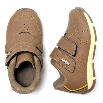 KLIN - Tenis de dos cinchos con velcro, café, walkers