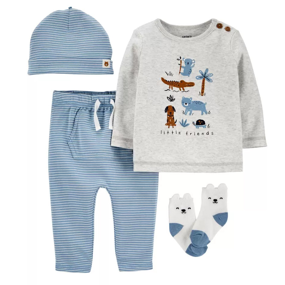 CONJUNTO CARTERS - Cj 2 pz camisa y pantalón con gorra y calcetines