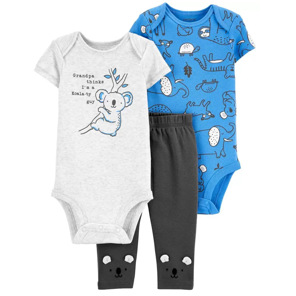 CONJUNTO CARTERS - Cj 3 pz, 2 bodys m/c y un pantalón, Koala Azul