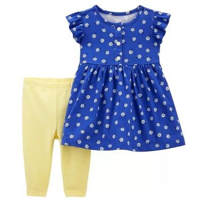 CONJUNTO CARTERS - Blusa m/c estampada azul, pantalón amarillo