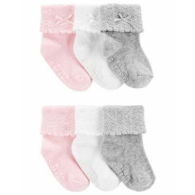 CARTERS - 6 pk calcetas enrolladas con moña, rosado, blanco, gris