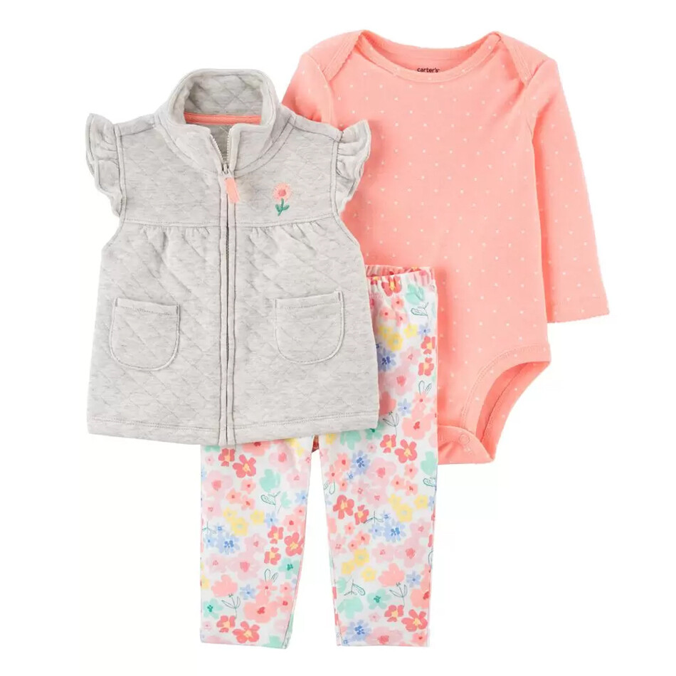 CONJUNTO CARTERS - blusa m/l rosada, Chaleco enguatado gris, leggings estampados