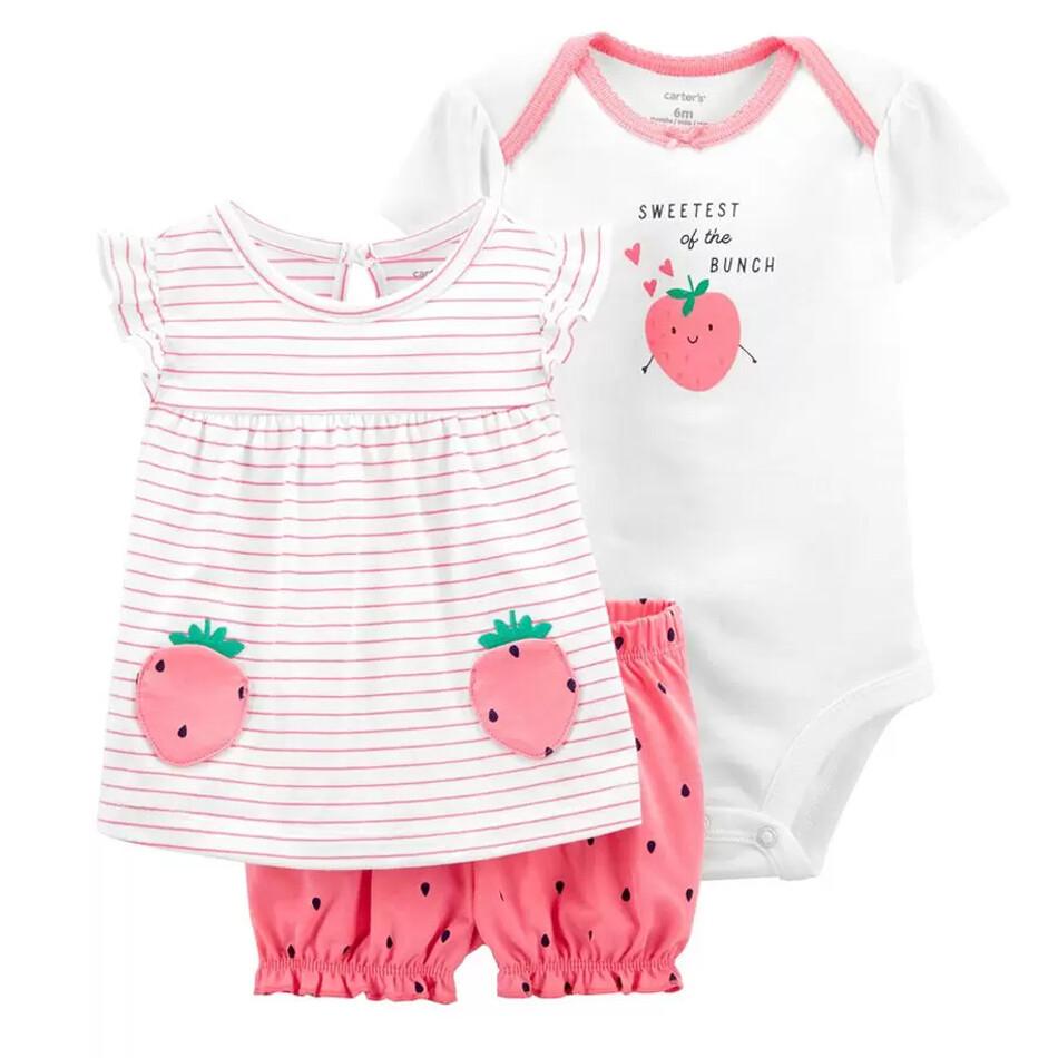 Conjunto Carters Body con blusa de Fresa y Calzón Rosado