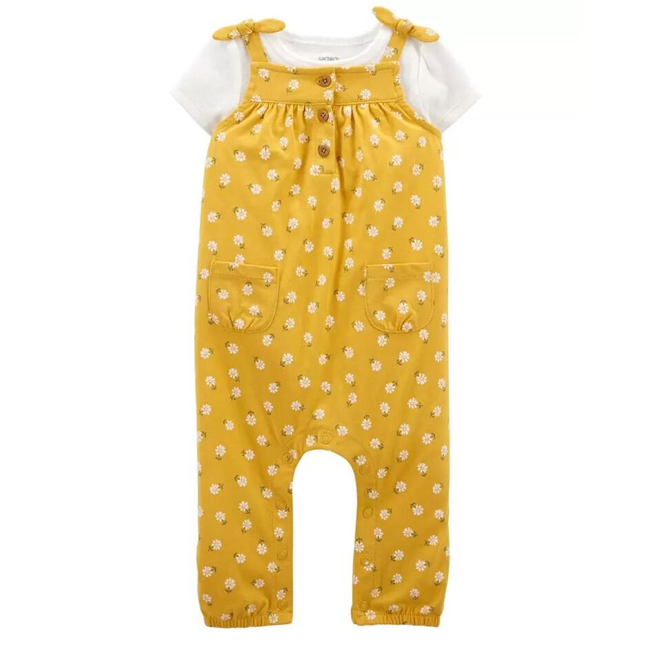 CONJUNTO CARTERS - overol estampado amarillo con blusa m/c blanca