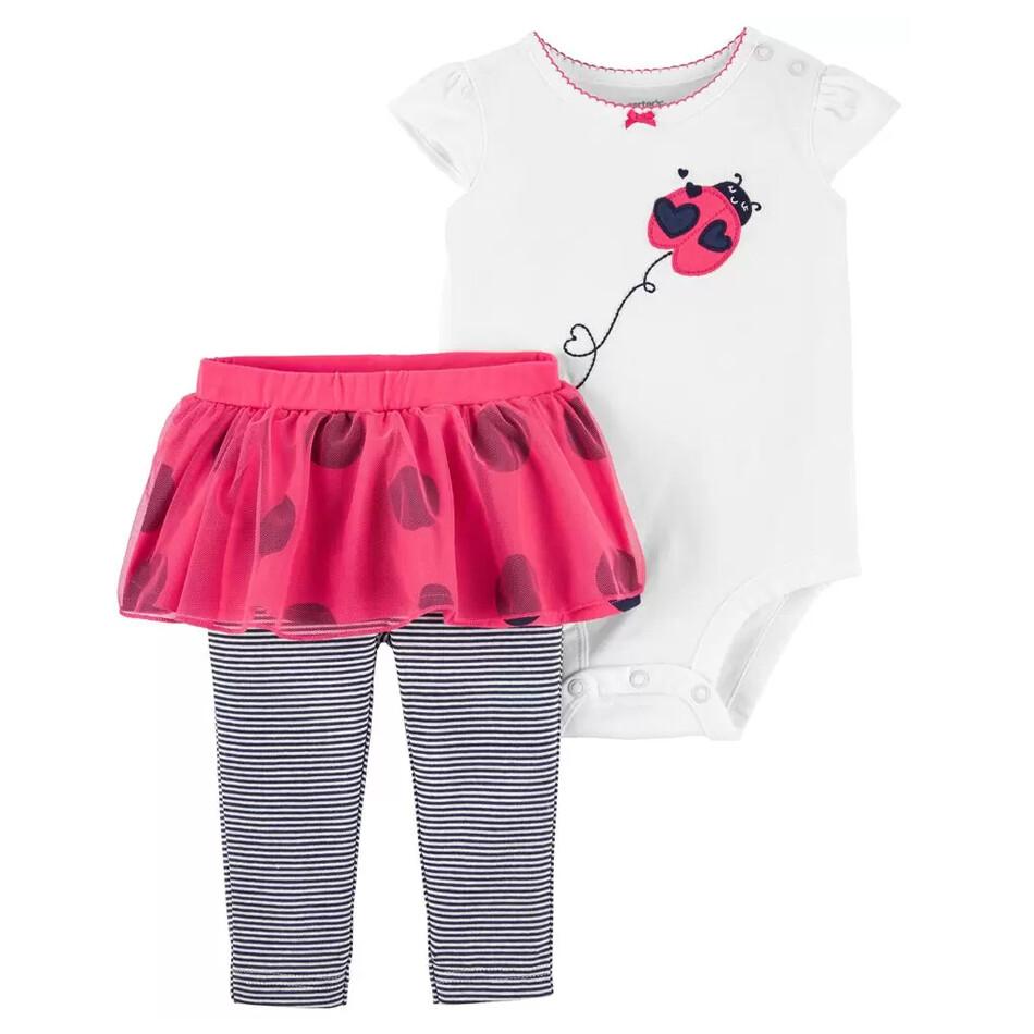 CONJUNTO CARTERS - body m/c blanca con tórtola, leggings rayados con falda rosada