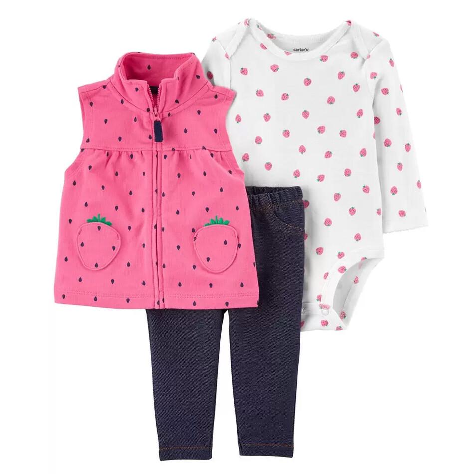 CONJUNTO CARTERS - blusa estampada m/l, Chaleco rosado y pantalón leggings azul
