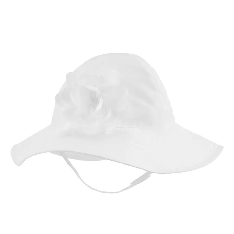 CARTERS - Sombrero de ala con flor, blanco