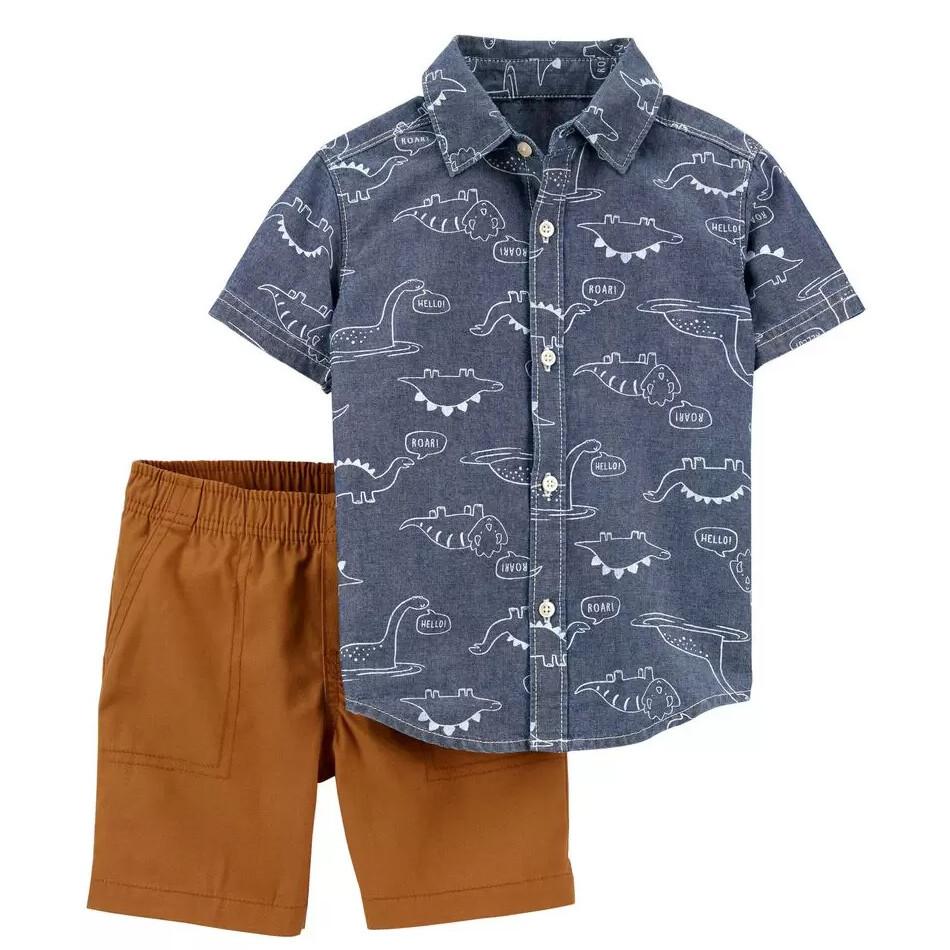 CONJUNTO CARTERS - Cj 2 pz Camisa estampada chambray y short khaki