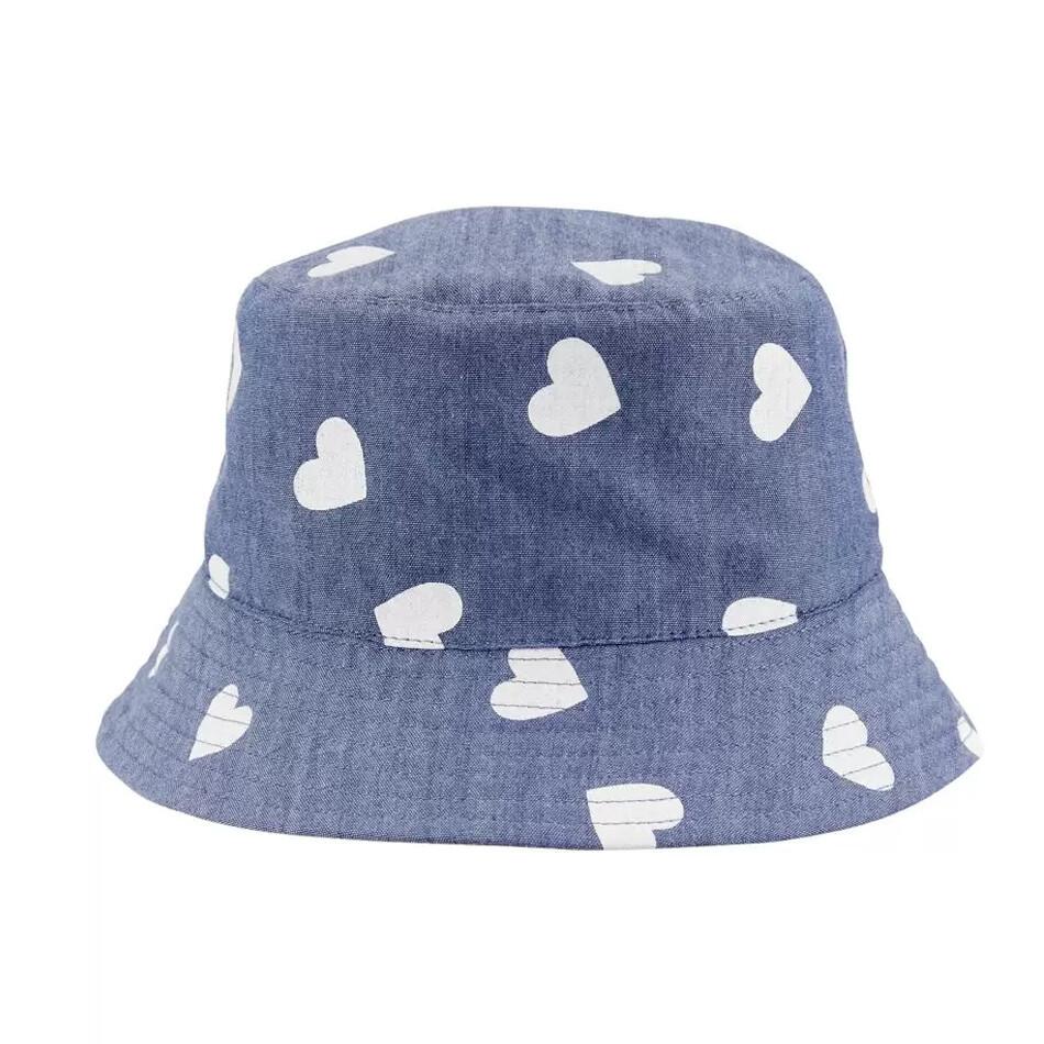 CARTERS - Sombrero tipo cubeta reversible, rosado, chambray