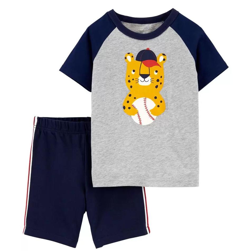 CONJUNTO CARTERS - 2 pz t-shirt m/c gris/azul dibujo leopardo, short azul marino