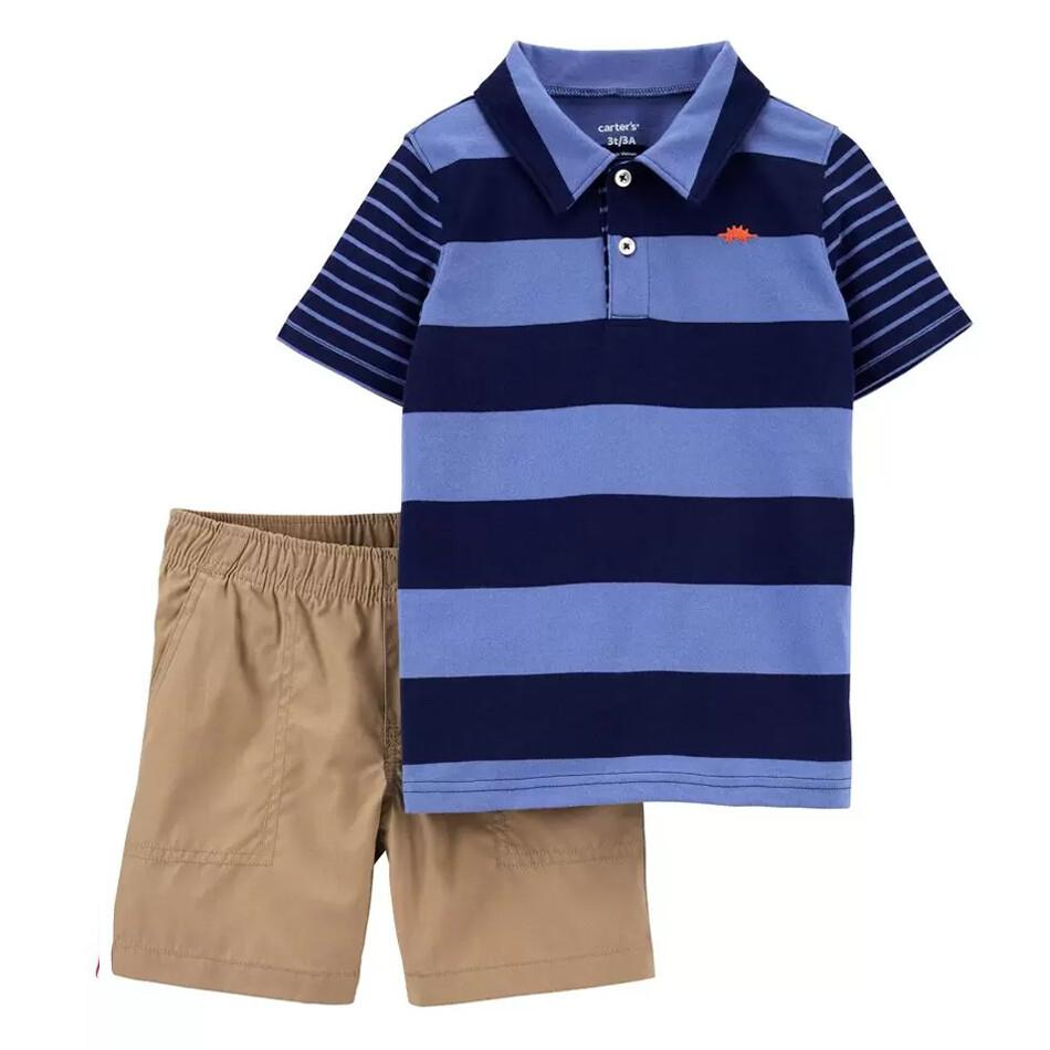 CONJUNTO CARTERS - 2 pz camisa tipo Polo m/c rayada azul, short khaki