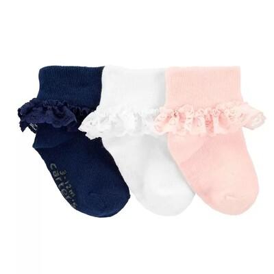 CARTERS - 3 pk calcetas dobladas, rosado, blanco, azul marino