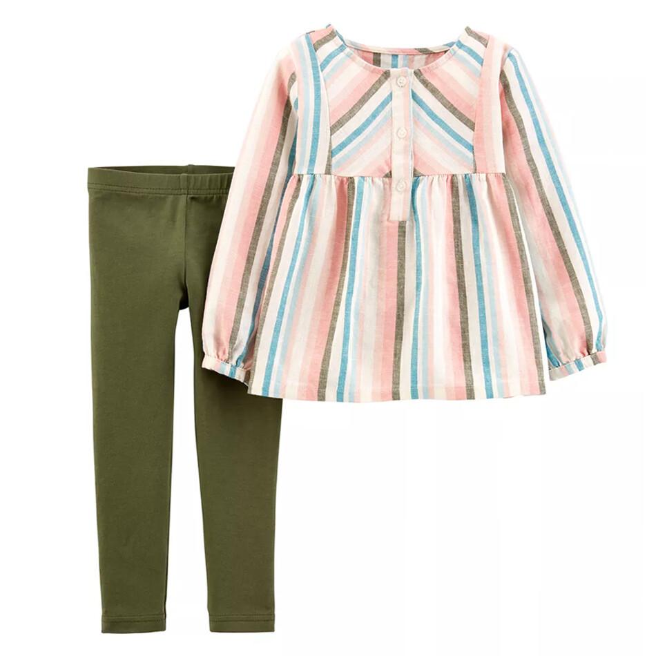 CONJUNTO CARTERS - Blusa m/l rayada y leggings verde olivo
