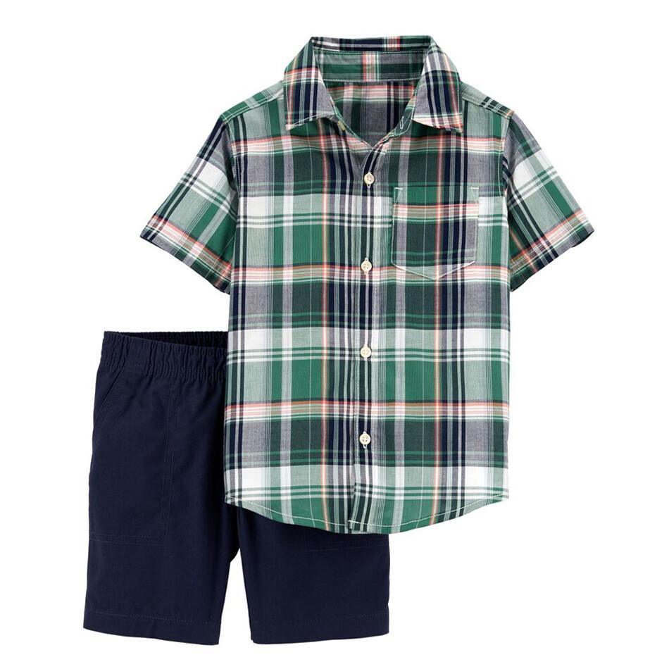 CONJUNTO CARTERS - 2 pz Camisa a cuadros verde y short azul marino