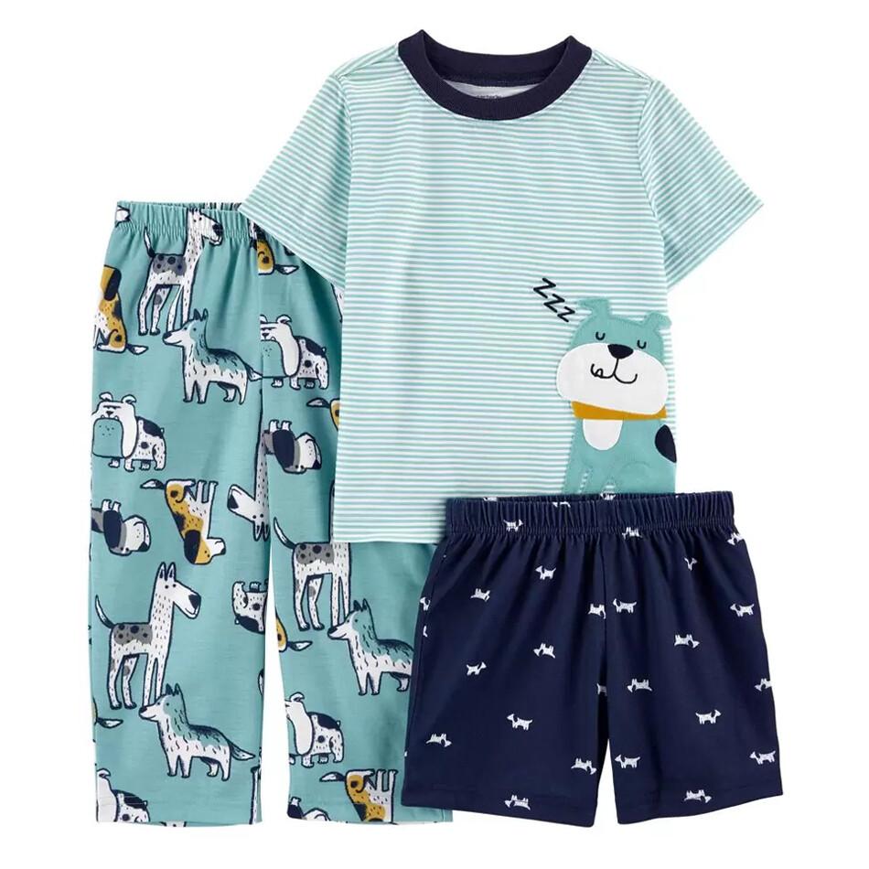 PIJAMA CARTERS - 3 pz de polyester t-shirt, short y pantalón, con diseño de perros celeste y azul