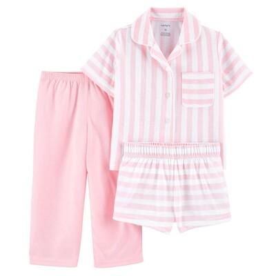 PIJAMA CARTERS - polyester blusa y short rayado y pantalón liso rosado