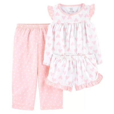 PIJAMA CARTERS - polyester blusa, short y pantalón, rosado y blanco