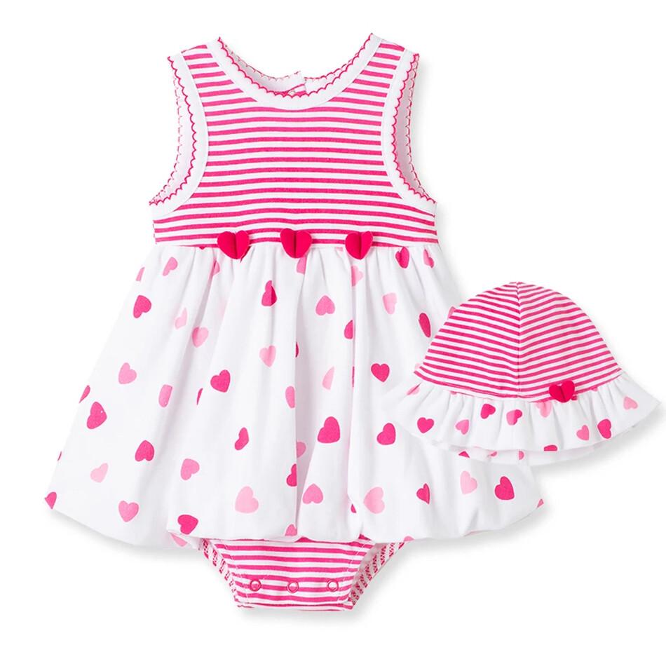 VESTIDO LITTLE ME - body s/m rayado y corazones, banco y rosado, con sombrero