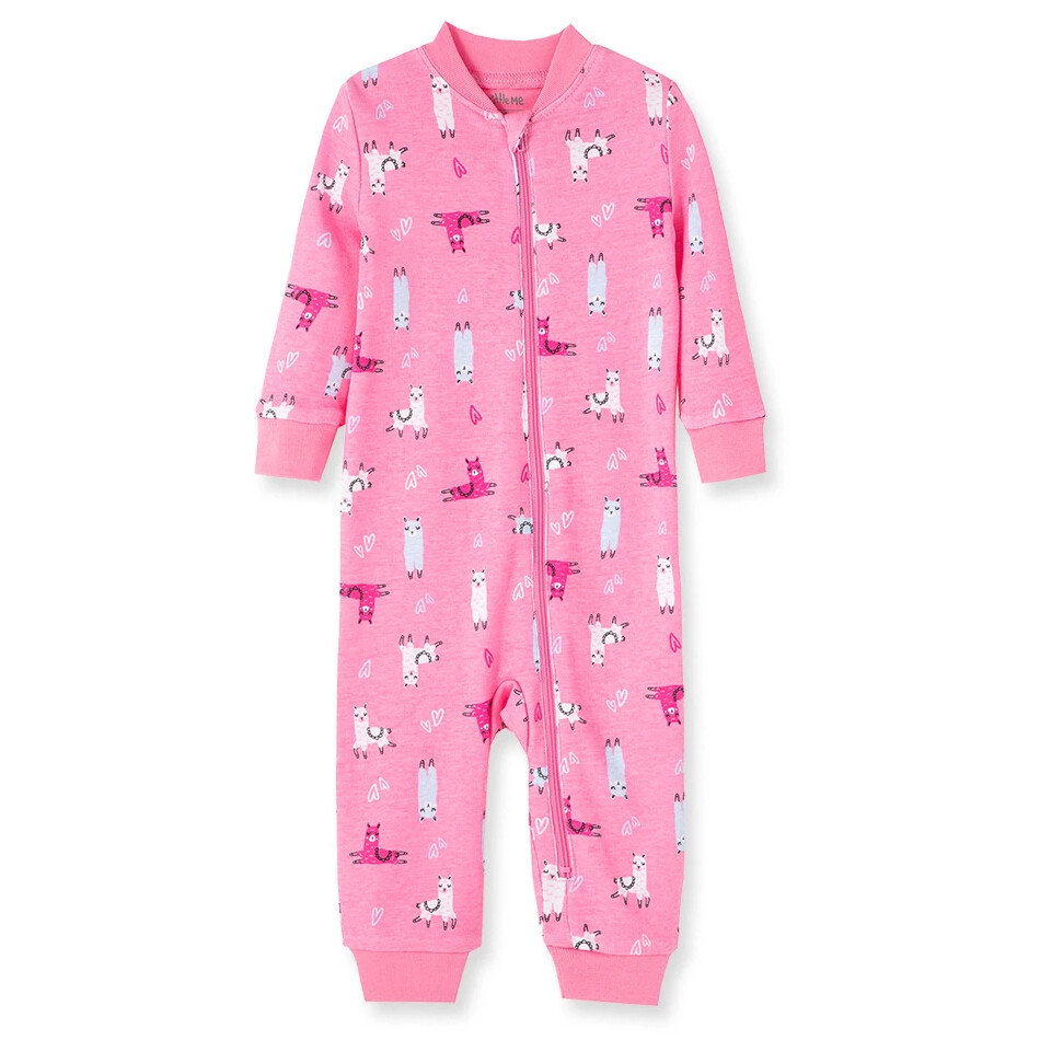 PIJAMA LITTLE ME - sin pies con zipper, Llama, rosado