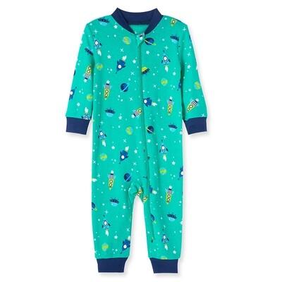 PIJAMA LITTLE ME - sin pies con zipper, estampada espacial, verde y azul