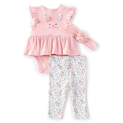 CONJUNTO LITTLE ME - body rosada s/m con faldita, tights conejos, diadema
