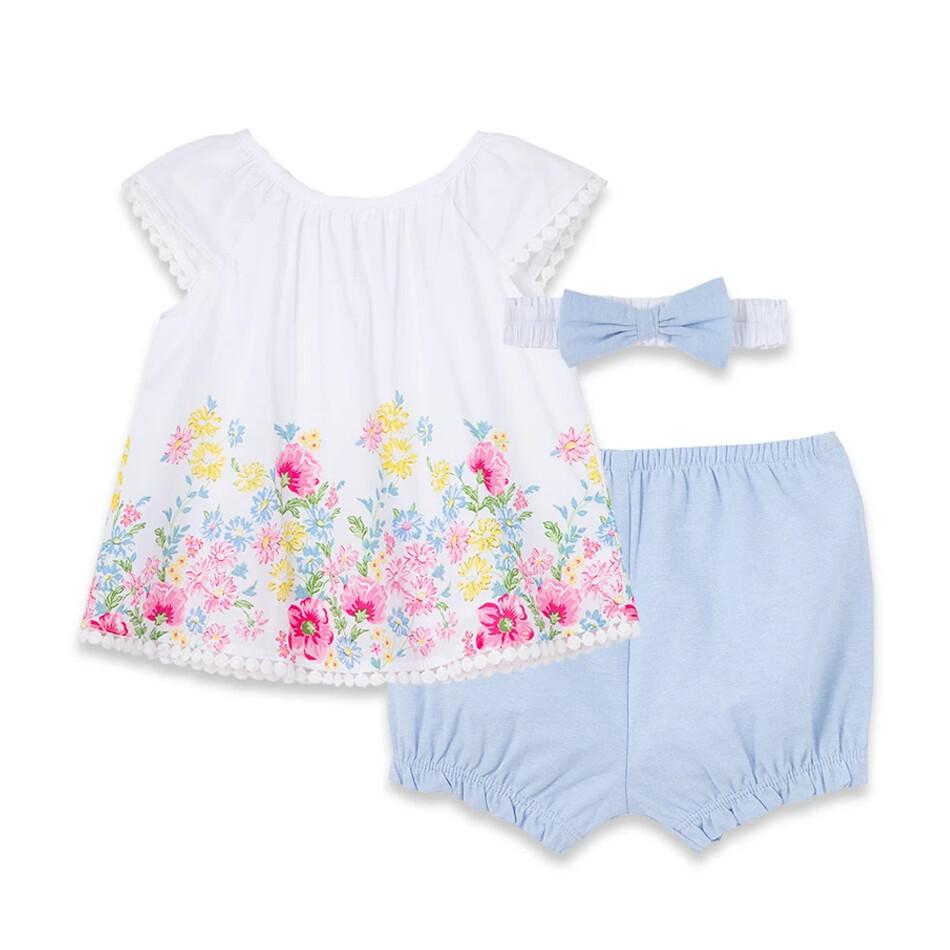 CONJUNTO LITTLE ME - blusa s/m flores estampadas ruedo, calzoncito celeste y diadema