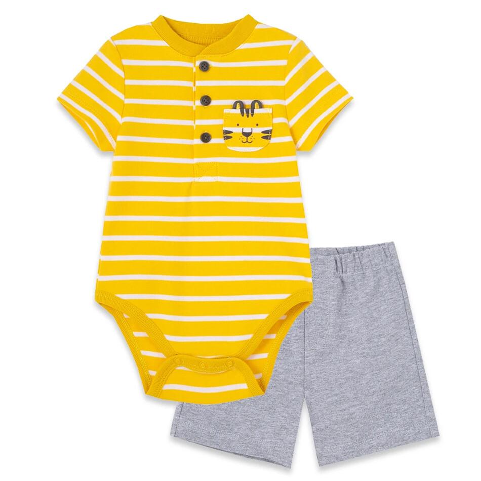 CONJUNTO LITTLE ME - Cj 2 pz body rayada amarilla con tigre y short gris