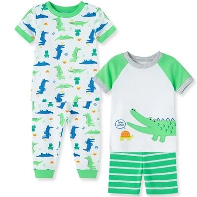 PIJAMA LITTLE ME - 4 pz dos camisas m/c un short un pantalón lagarto, verde