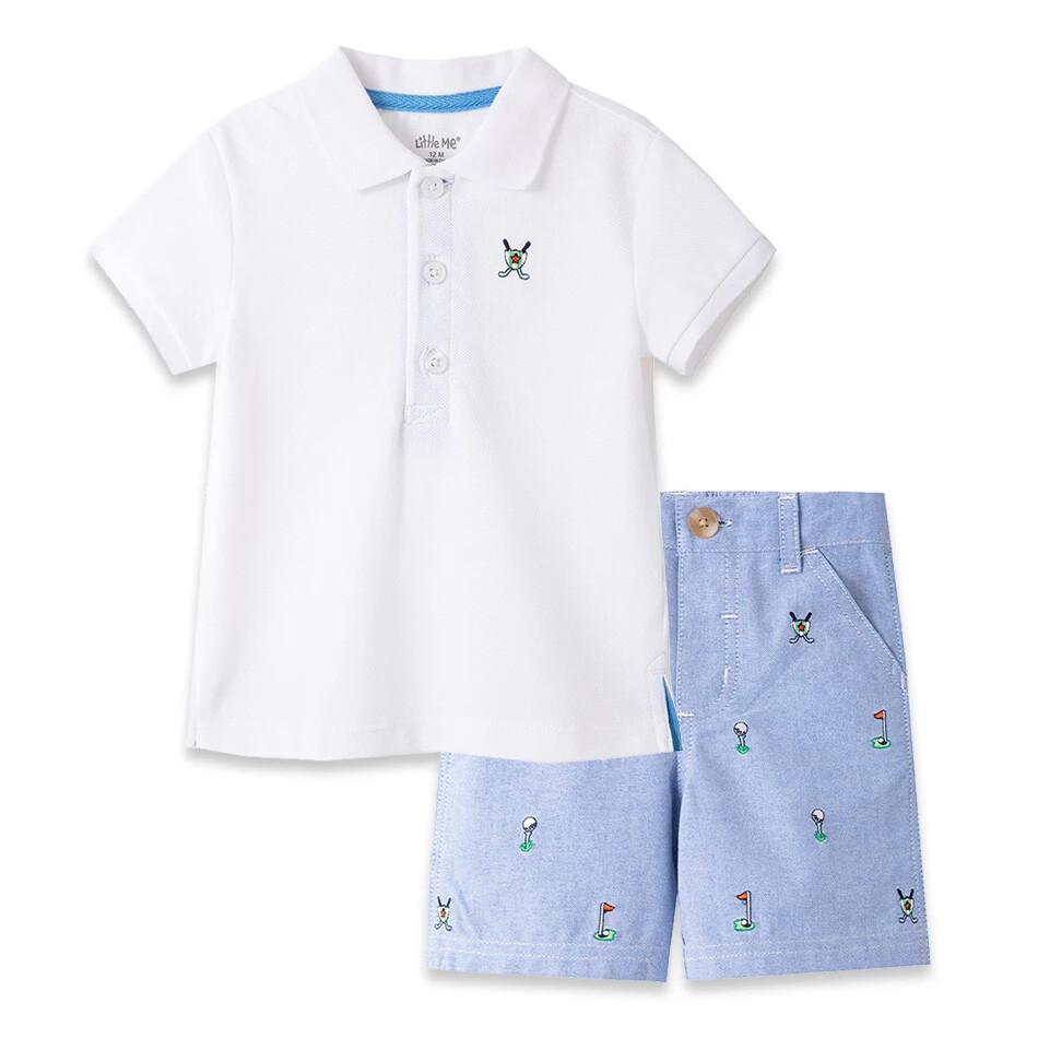 CONJUNTO LITTLE ME - Cj 2 pz camisa polo m/c blanca y shorts chambray diseño golf