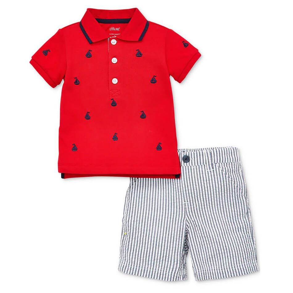 CONJUNTO LITTLE ME - Cj 2 pz camisa polo m/c roja con anclas, short de chambray