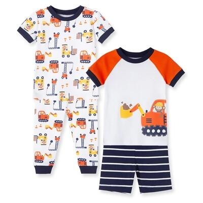 PIJAMA LITTLE ME - 4 pz dos camisas m/c un short un pantalón, construcción, azul y naranja