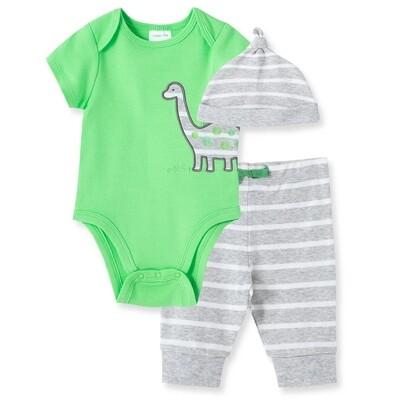 CONJUNTO LITTLE ME - Cj 2 pz body lisa con dino, pantalón y gorra rayada gris