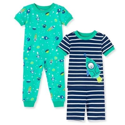 PIJAMA LITTLE ME - 4 pz dos camisas m/c un short un pantalón, espacio, verde y azul