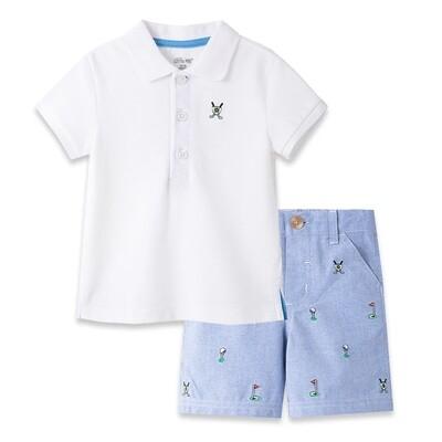 CONJUNTO LITTLE ME - 2 pz camisa polo m/c blanca y shorts chambray diseño golf