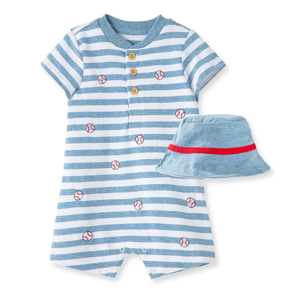 OVEROL LITTLE ME - corto rayado de beisbol con sombrero azul
