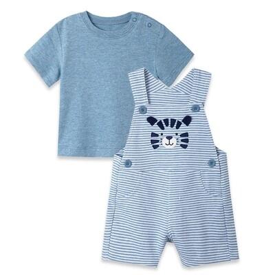 CONJUNTO LITTLE ME - Cj 2 pz overol corto rayado con tigre, t-shirt lisa azul